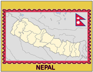 Nepal national emblem map coat flag business background