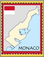 Monaco national emblem map coat flag business background