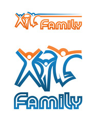 A family emblem. Graphic figures, joyfully jumping up together