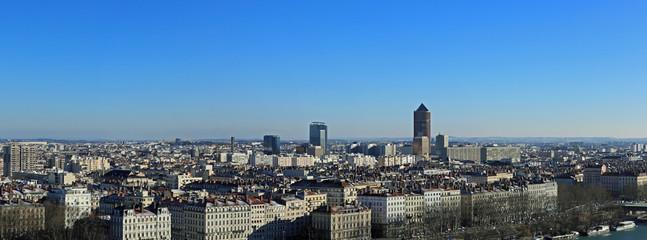 vue aérienne panoramique de la ville de lyon en hiver