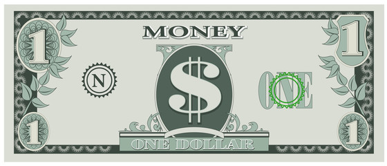 Vector illustration of game money - one dollar bill