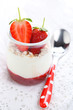 Yogurt with jam and fresh strawberry