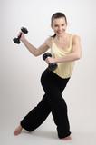 bodybuilder woman burning calories poster