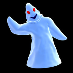 funny cartoon ghost. 3D rendering with clipping path and shadow