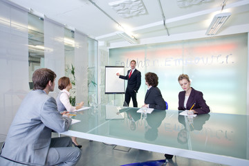Business presentation in conference room