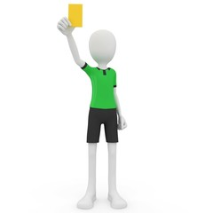 3d man referee with yellow card