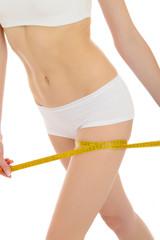 Part of beautiful fit slim woman body in white underwear measuri