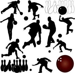 bowling people silhouettes - vector