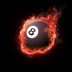 Pool snooker black white eight ball in flames
