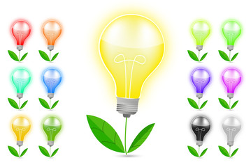 light bulb and green leaf