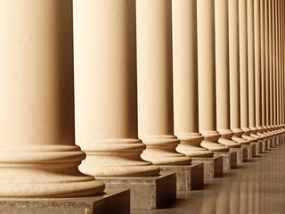 Old columns in sepia. 3D realistic illustration