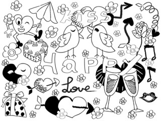 doodle background of Valentine's Day