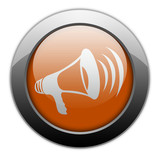 "Orange Metallic Orb Button ""Megaphone / Announcement Symbol"""