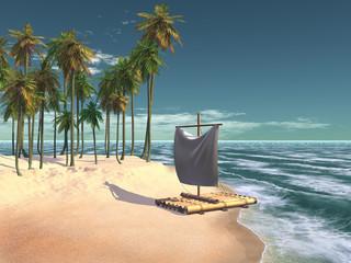 balsa en una playa