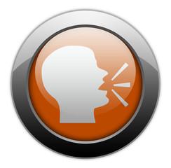"Orange Metallic Orb Button ""Talking Head / Forum / Discussion"""
