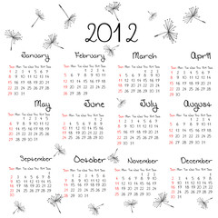 2012 calendar with dandelion seeds