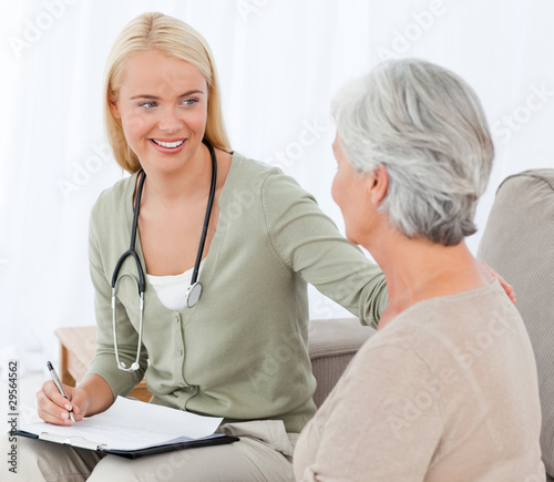 Doctor talking with her patient