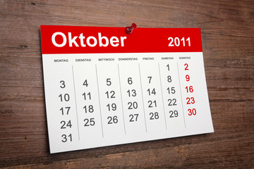 Kalender Oktober 2011