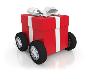 Red gift box with wheels