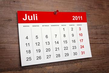 Kalender Juli 2011