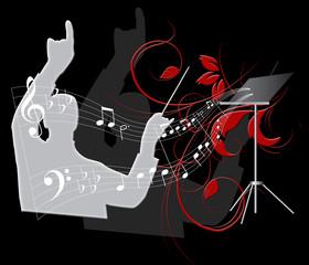 chef d'orchestre fond noir