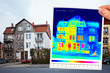 Leinwanddruck Bild - thermal imaging of a half isolated apartment building