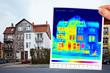 Leinwandbild Motiv thermal imaging of a half isolated apartment building