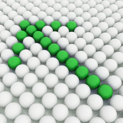 White 3D balls with green balls