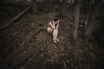 Woman Alone In The Forest