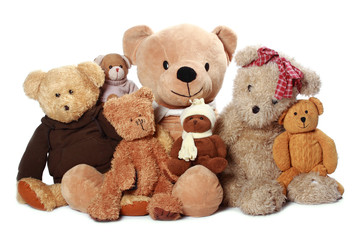 a lot of teddy-bear isolated on white background