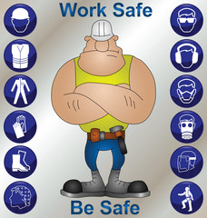Construction worker and safety icons