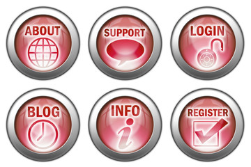 Set of 6 Red Website Buttons