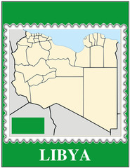 Libya national emblem map coat flag business background