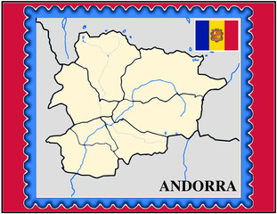 Andorra national emblem map coat flag business background