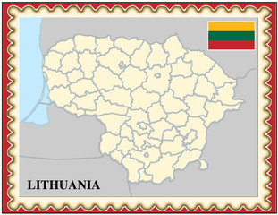 Lithuania national emblem map coat flag business background