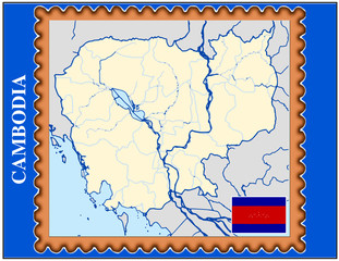 Cambodia national emblem map coat flag business background