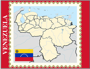 Venezuela national emblem map coat flag business background