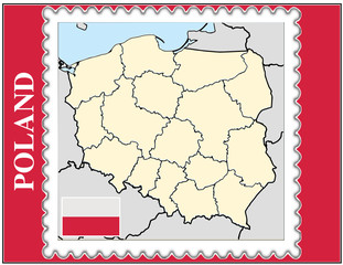 Poland national emblem map coat flag business background