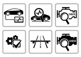 Automotive diagnostic repair icons set.