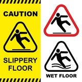 Slippery floor surface warning sign. Vector illustration.