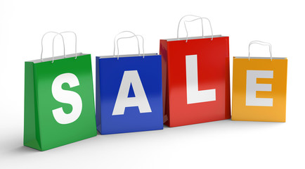 Sale shopping bags. 3d illustration.