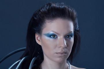 portrait of fantasy cyborg girl