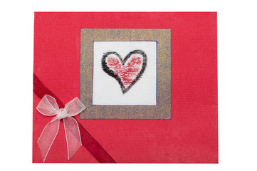 Card from textured paper with hearts