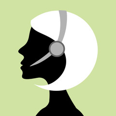 Call Center Girl Silhouette