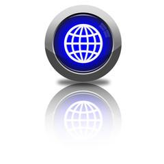 Button Erdkugel rund dunkelblau