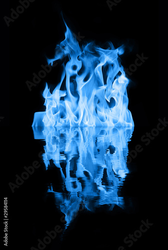 Blue fire reflection