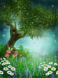 Zielona łąka z drzewem