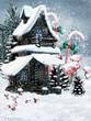 Zimowa chatka elfów z szyszkami