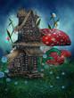 Chatka fantasy wśród grzybów
