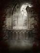 Gotyckie ruiny z jesiennymi drzewami
